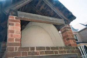 Close-up of bake oven; note squirrel tail flue