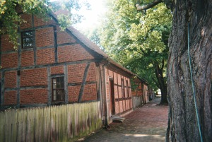 Row of the first houses built in Salem, beginning in 1766
