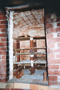 Interior of walk-in kiln at Ben Owen Pottery