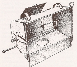 """A tin (Dutch) oven from the Hugh Roberts collection."" (c) Prospect Books, 2004"